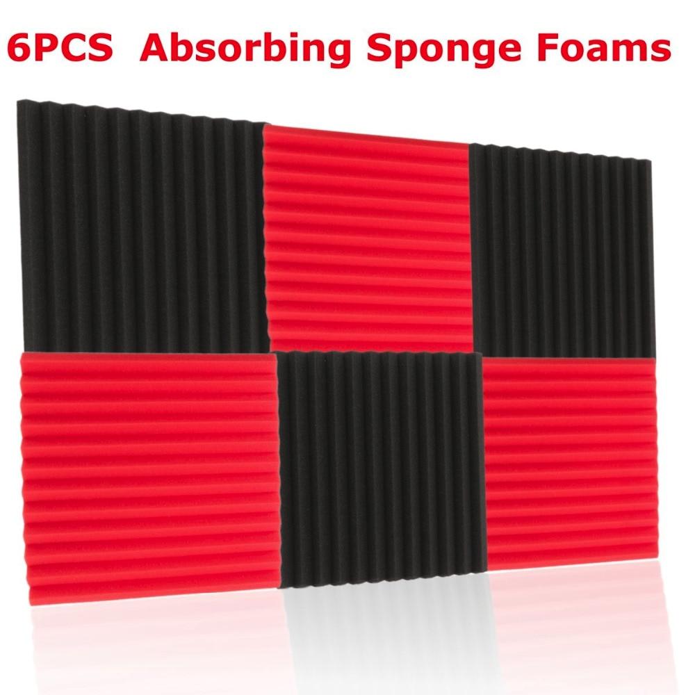 6 pcs 30x30cm Thickness 2.5cm Nvironmentally Polyurethane Foam Soundproofing Sound-Absorbing Noise Sponge Foams For KTV Studio