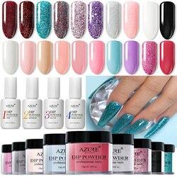 Azure Schönheit Tauch Pulver Nail art Holo Glitter Dekorationen Nagel Dip Pulver Französisch Gradienten Farbe Nagel Pulver
