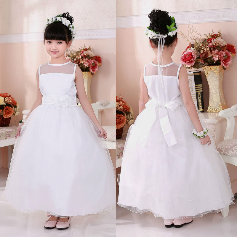 Buy white ankle length flower girls dress for Wedding party dress up