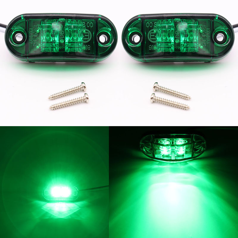 2Pcs 12V / 24V LED Side Marker Lights Car External Lights Warning Tail Lights Trailer Lights Truck Auto Lorry Lamp Green New
