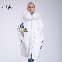 Milyfuer Casual White Parka Women Full Sleeve Down Inside Hooded Solid Raccoon Collar Autumn Winter Warm Parkas Female Jackets