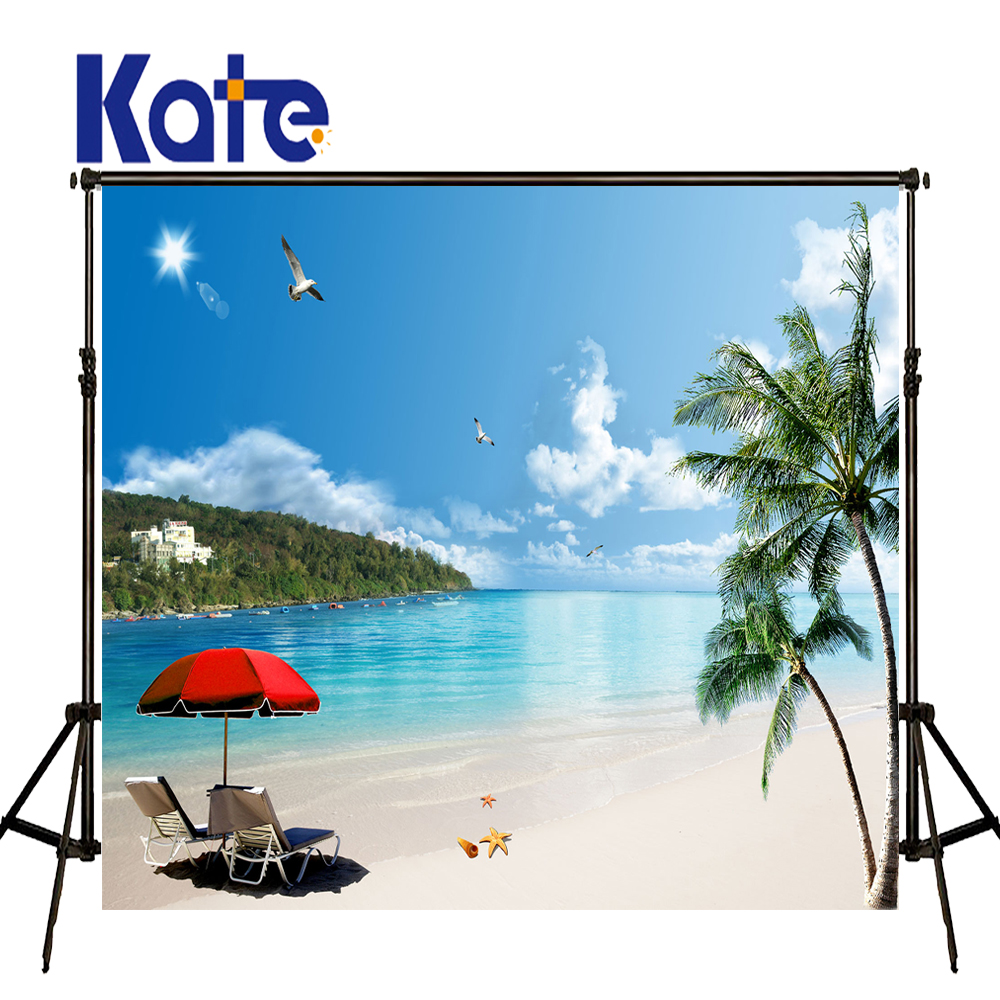 KATE Photo Backdrop Beach Baby Background Sea Scenery Blue Sky Backdrops Beach Umbrella Photo for Naturism Children Holiday blue sky чаша северный олень
