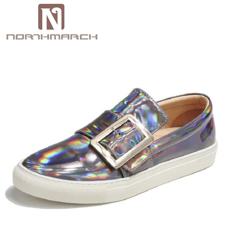 NORTHMARCH Brand High Quality Male Casual Shoes Classic Silver Patent Leather Shoes Breathable Slip-on Loafer Shoes Men mycolen brand high quality male casual shoes classic silver patent leather shoes breathable fashion slip on loafer shoes men