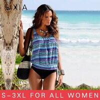 Print Floral Plus Size Swimwear Women Larger Size Cup Tankini Female Bikini 2017 High Waist Swimsuit