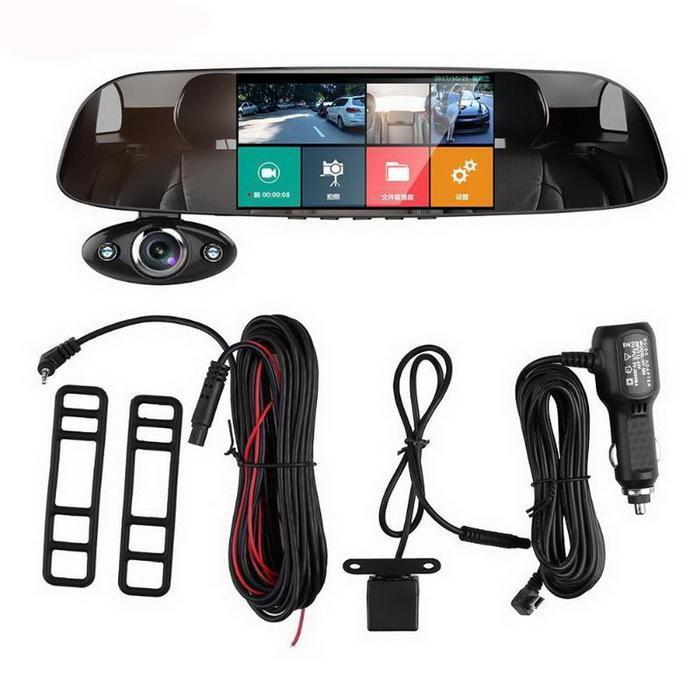 3 Lens 1080P Car Rear View Mirror DVR Camera Dash Cam Inside Outside Anytek B33