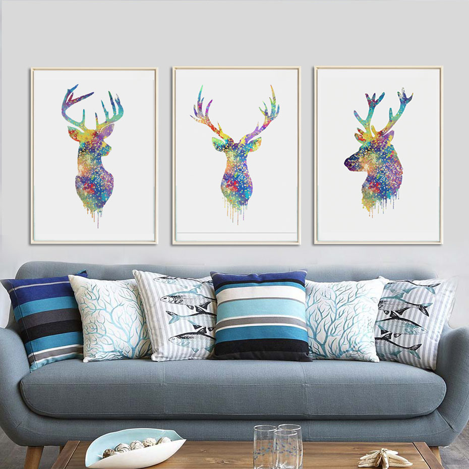 Wall painting styles - 3 Style Watercolor Deer Canvas Printing Poster A4 Colorful Animal Wall Picture Painting Home Decor For