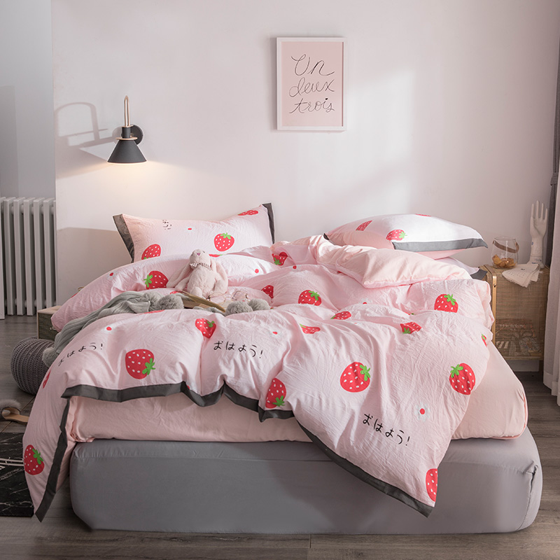 Fashion Summer Strawberry Bedding Set Light Luxury Elegant Duvet Cover Active Printing Set Bed Linen Washing