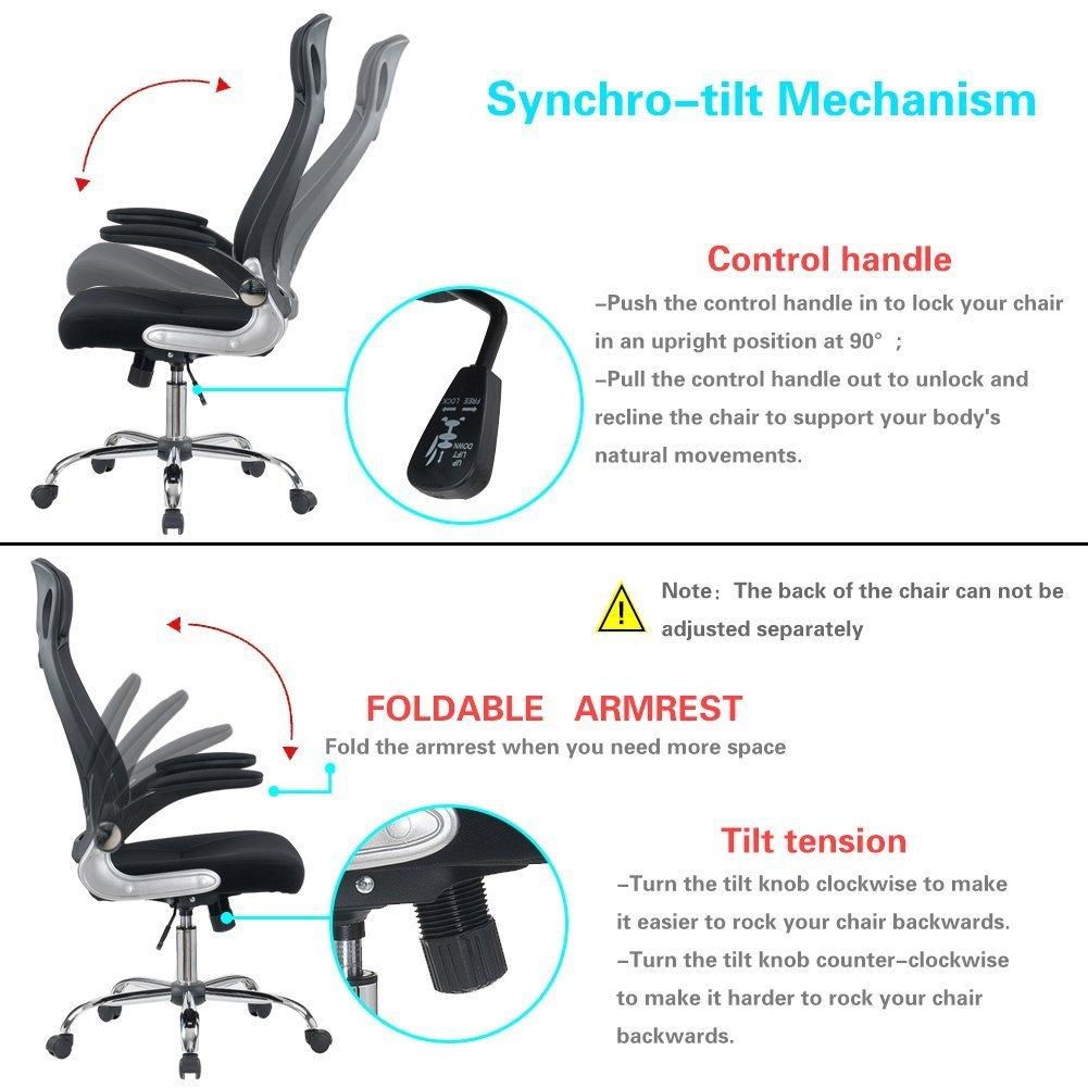 Acolchoado Cadeira Dobrável Com Apoio de Braço Apoio de Cabeça Ajustável