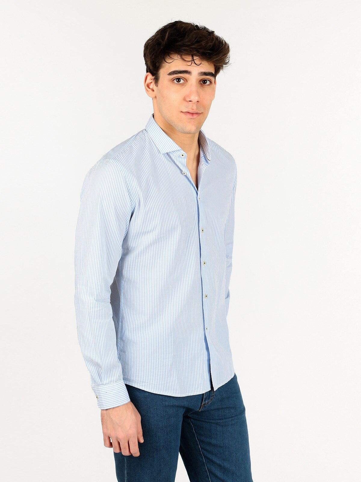 Cotton Striped Shirt Blue