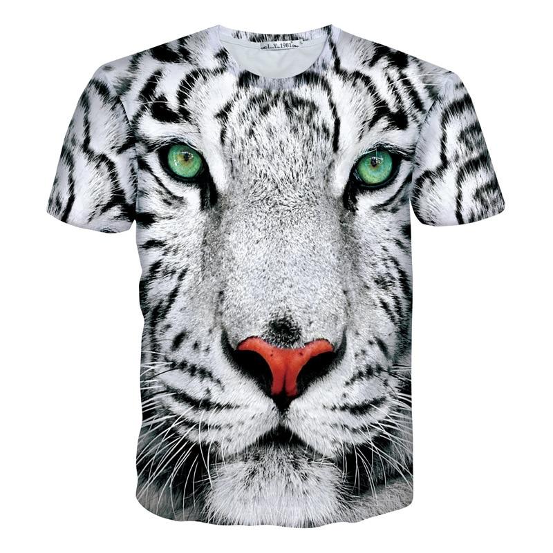 White Tiger T-Shirt leopard 3d crewneck print t shirt women men summer style outfits fashion tops tees plus size M-XXL