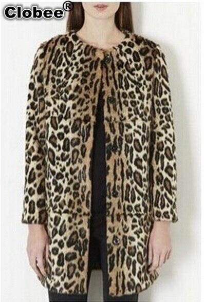 b2e49c2f189 Plus Size Leopard Print Coat 2018 Autumn Winter Casaco De Pele Falso 2018  Mejur Long Style Women Faux Fur Coat Outwear X891