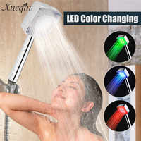 Xueqin LED ABS Shower Head Hand Held Square 7 Color Changing LED Showerhead Water Saving Temperature