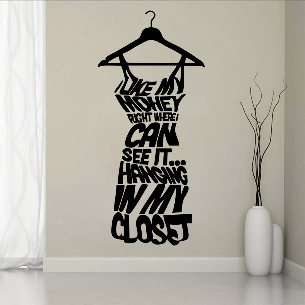 buy hot wall stickers for cloakroom fashion women 39 s dress design wall decal. Black Bedroom Furniture Sets. Home Design Ideas
