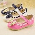 Crianças primavera meninas sapatos com arco bebés meninas princesa sapatos moda mocassim sapatos de festa de couro sapatos casuais simples muscular vaca