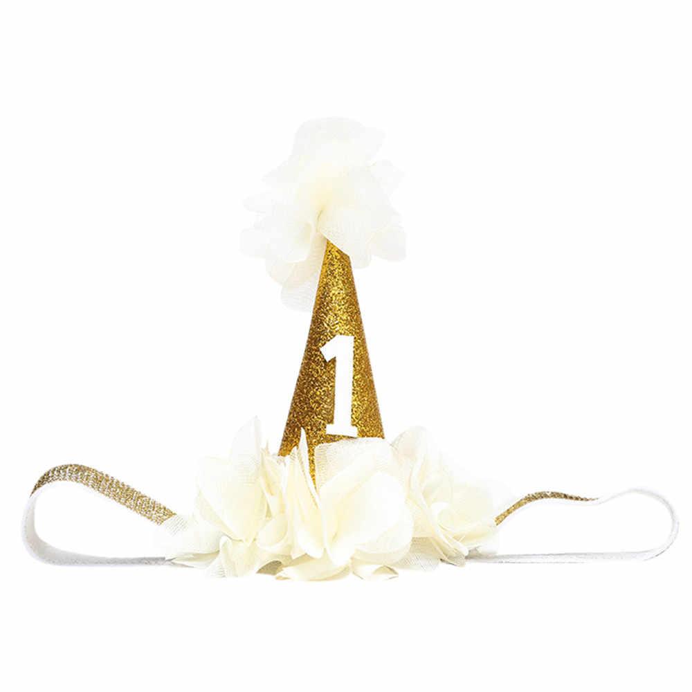 2019 Baby Girl Brithday Número Coroa Headwear Crianças Turbantes Cabeça Acessórios Hairband Elástico Acessório Headband Bebê Cocar