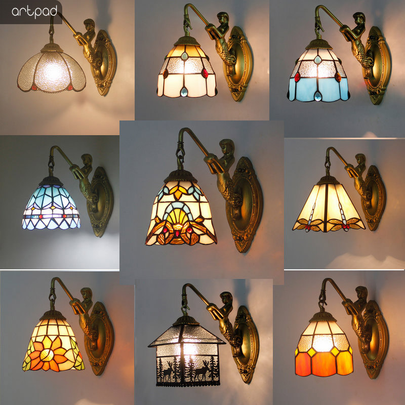 Artpad Vintage Wall Lamp Bathroom Mirror Sconces 20 Types Mediterranean Style Colorful Glass Lampshade AC 90