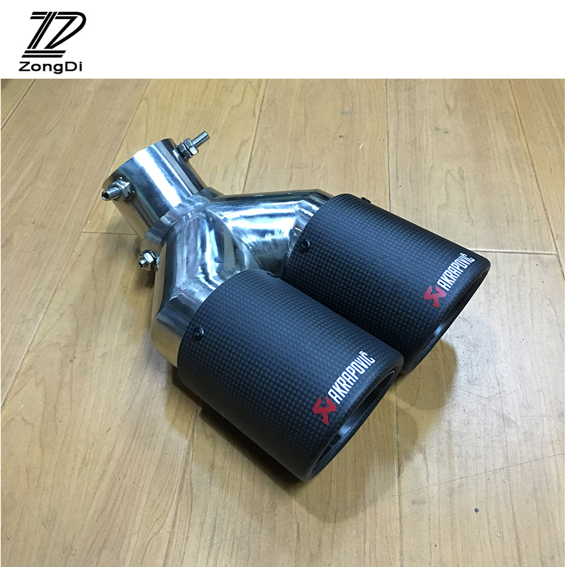 ZD Car Carbon Exhaust Tail Pipe Twin Curved Tailpipe Akrapovic Tip For Volkswagen BMW Audi Mercedes