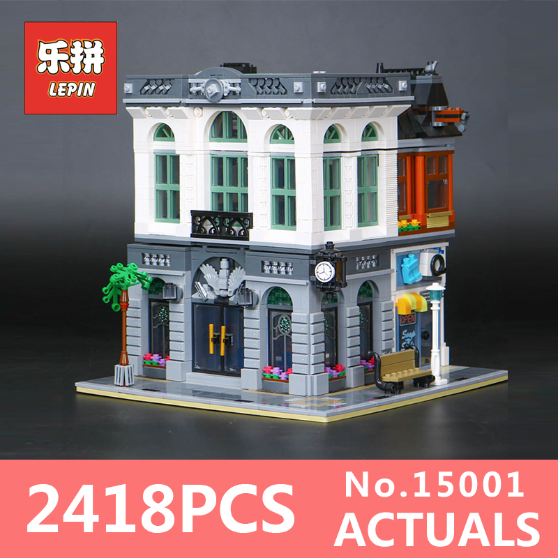 2413Pcs Lepin 15001 Street view Series Bank Model Building Blocks Bricks Toy Compatible With 10251 DIY Funny Educational Gift lepin 15009 city street pet shop model building kid blocks bricks assembling toys compatible 10218 educational toy funny gift