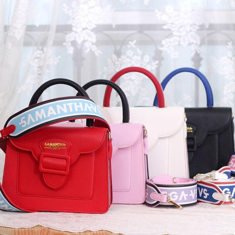 2017 Brand Designer Honey Salon Wide Shoulder Strap Bag New Samantha Vega Handbags Square Messenger Panelled Tote In Bags From