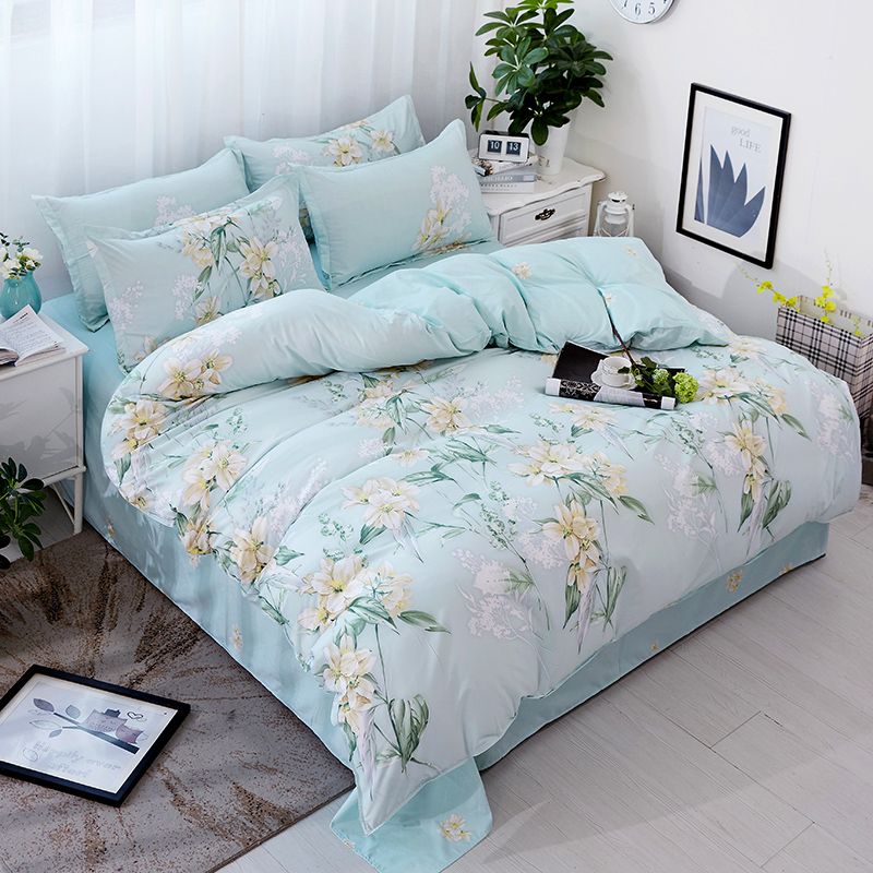 Practical Fashion Sky Blue Flower Printed Bedding
