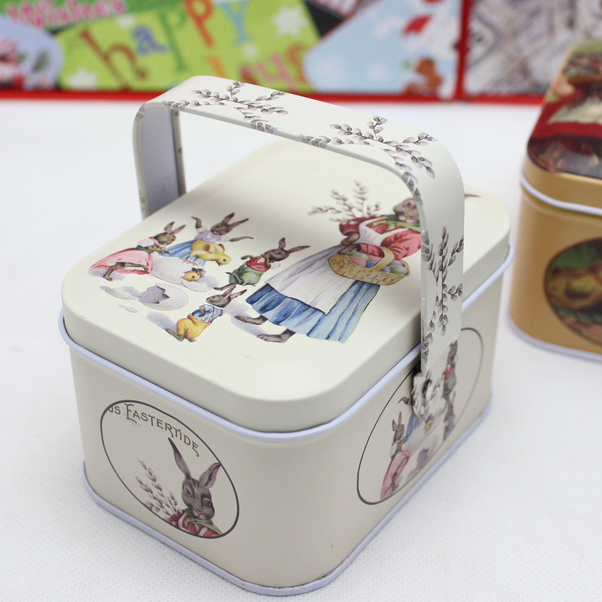 New arrival vintage small suitcase storage tin candy box change box earphones box small suitcase