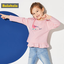 Balabala Toddler Girl 100% Cotton Printed Shirt with Ruffle Trim Children Kids Girl Long-sleeved Shirt with Dropped Shoulder(China)