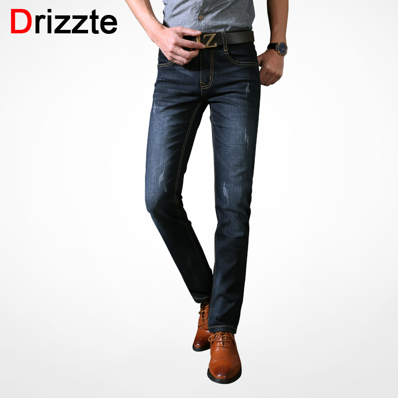 Drizzte Men's Jeans High Stretch Black Blue Cotton Denim Brand Mens Jeans Jean For Men Trousers Business Pants Slim Fit Jeans drizzte men s jeans classic stretch blue denim business dress straight slim jeans size 34 35 36 38 pants trousers jean for men