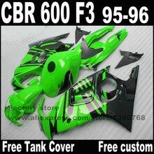 Высокое качество Обтекатели комплект для HONDA CBR 600 F3 1995 1996 зеленый черный обтекателя обвесы cbr600 95 96 YP81