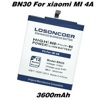 3600mAh LOSONCOER BN30 Mobile Phone Battery For Xiaomi Redmi 4A Battery Powerful Batteries