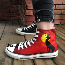 Wen Hand Painted Shoes Design Custom Reindeer Sunset High Top Men Women's Canvas Sneakers Christmas Birthday Gifts