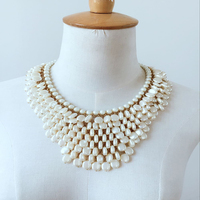 Luxury Bubble Simulated Pearl Statement Necklace For Women Chunky Cream Pearls Choker For Bride Wedding Fashion Jewelry