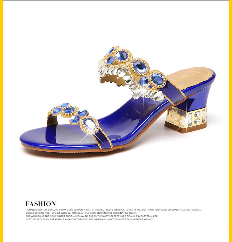 ad5ebe0b8 Exquisite Women Sandals Fashion Blue Golden Purple Three Colors Available  Rhinestone Metal Decoration Leather Casual Shoes Women