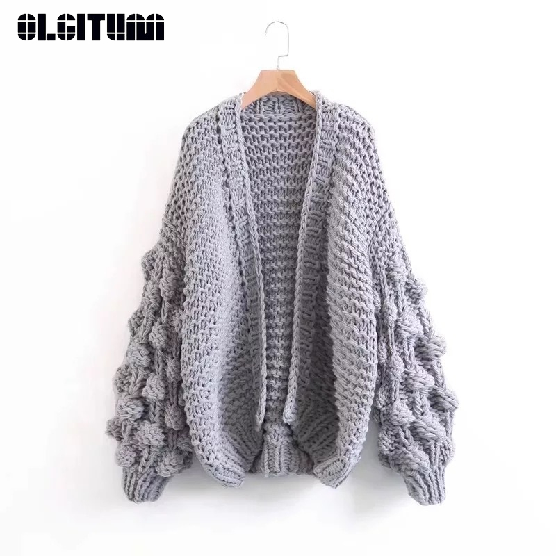 New Autumn/inter Women Fashion Warm Sweater Handmake Knitted Cardigan Lantern Sleeves 2020 Lazy Style Short Outwear Female