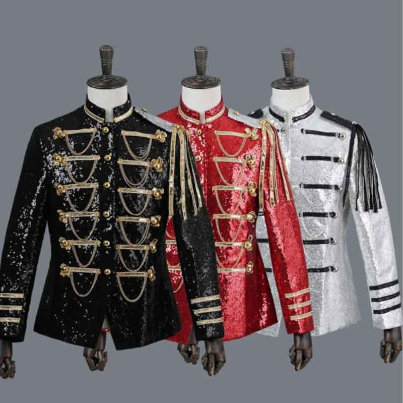 Men`s Sequins Steampunk Vintage Military Embellished Coat Kingdom Prince Costume Jacket Blazer Suits Cos Outfit For Men Black