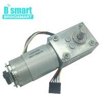 Bringsmart A58SW 555B 24V DC Motor Worm Geared Motor DC 12V Encoder Disk Reduction Self Lock Gearbox High Torque for Toys DIY