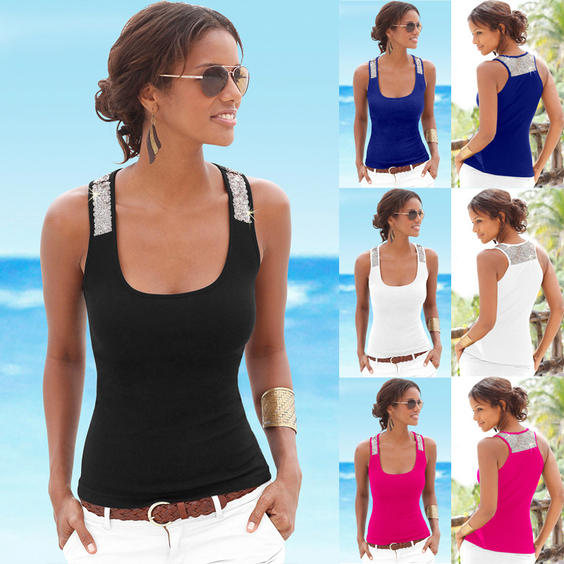Summer 2019 Sexy Camisole Low-cut Basic T-shirt   Tank     Top   Solid Color Sleeveless Spliced Slim Ladies Thin Women Vest Beach   Tops