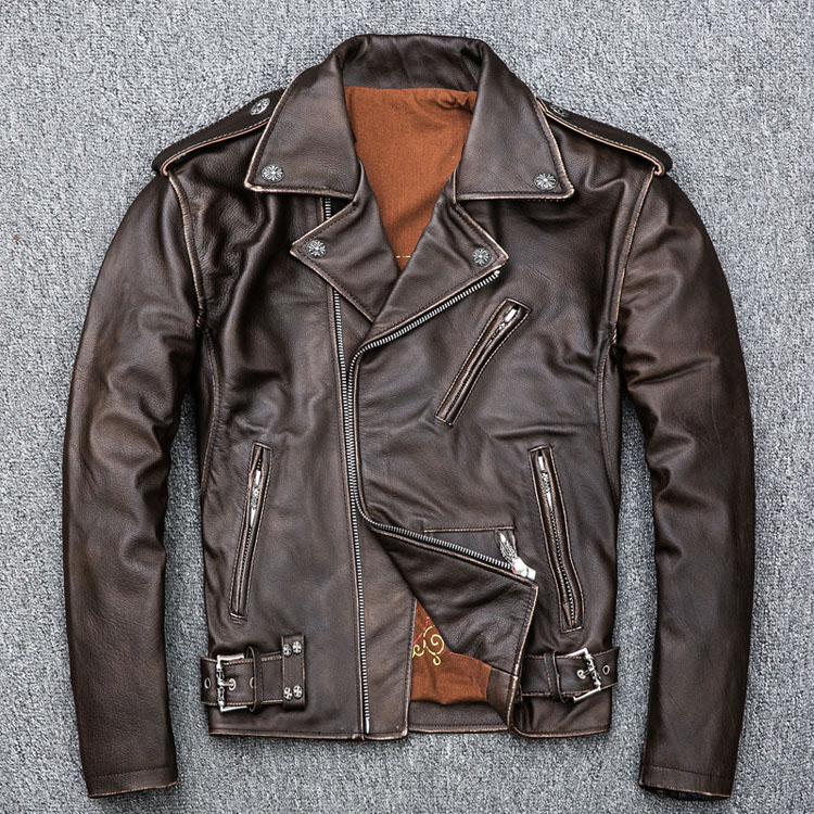 HTB1g9MCJ4SYBuNjSsphq6zGvVXar MAPLESTEED Brown Distressed Motorcycle Jacket Men 100% Calf Skin Classic Slim Leather Jacket Man Moto Biker Coat Winter 5XL M190