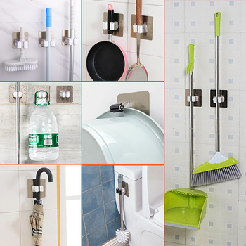 Wall Mounted Mop Brooms Floor Brushes Holder Rack Self Sticking 1