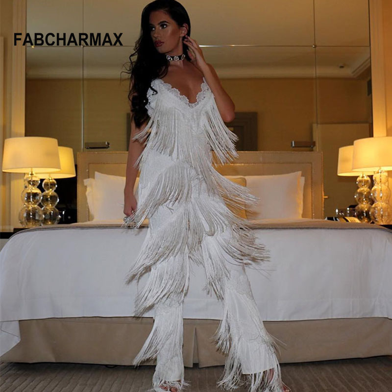FABCHARMAX fringes rompers womens jumpsuit tassels sexy lace jumpsuit white chic outfits fashion runway jumpsuits for women 2018