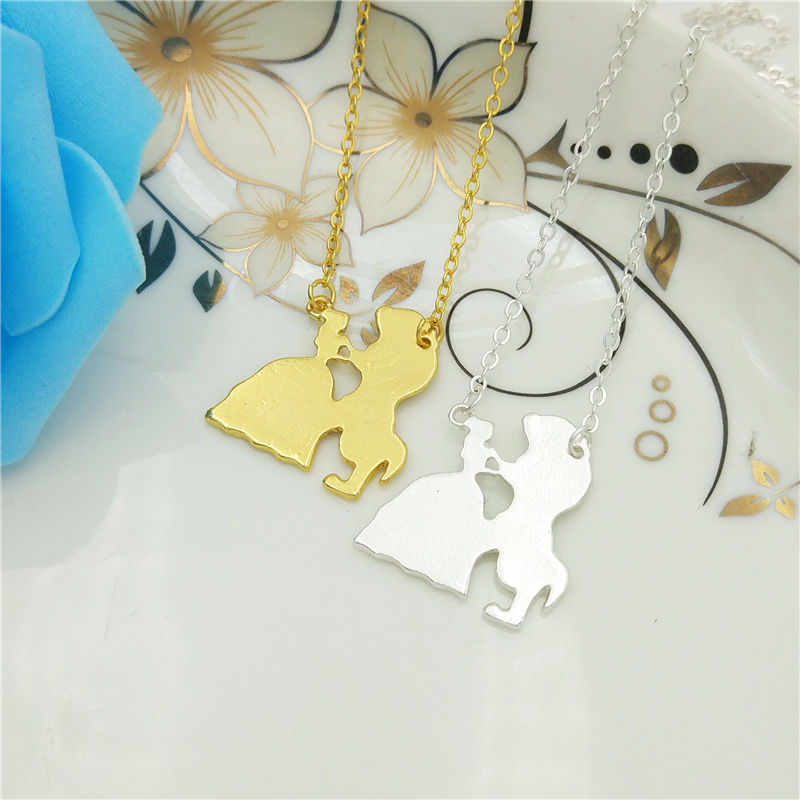 Wholesale Fashion Jewelry Beauty And The Beast Necklace Charm Pendant Choker Women Necklace Jewelry Gift Gold Color