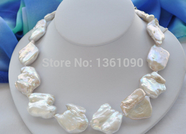free shipping BIG 35mm WHITE BAROQUE KESHI REBORN PEARL NECKLACE 18inch () цена и фото