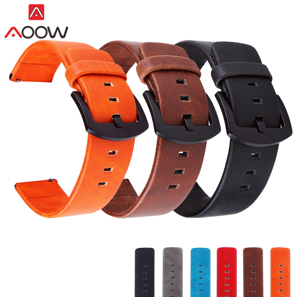 18mm 20mm 22mm 24mm Genuine Leather Watchband For Samsung Galaxy Watch Active 42mm 46mm Bracelet Band Strap For Gear S3 S2