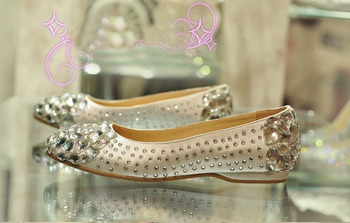 2018 Handmade Luxury Fashion Satin Rhinestone bridal shoes flat heel female crystal Pageant wedding shoes