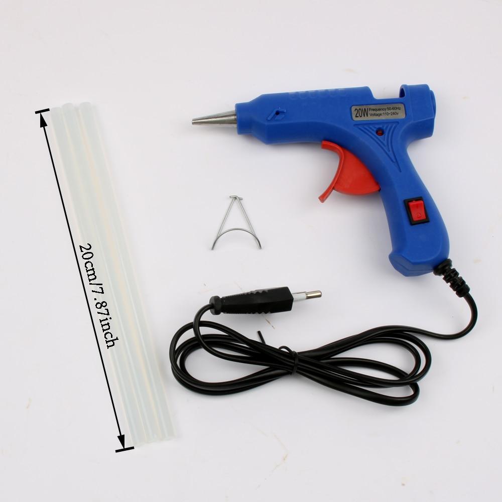 Любань 20 Вт EU/US зажигания промышленные термоклей пистолет с 3 шт. 20 см мини Пистолеты термо тепла Температура инструмент синий и белый клеевой пистолет