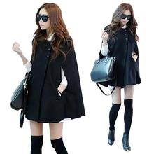 Women Ladies Batwing Cloak Coat Korean Fashion Oversized Casual Poncho Winter Coat Jacket Loose Cape Outwear Black Plus Size(China)