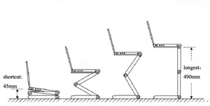 Image 5 - อลูมิเนียมแบบปรับได้แบบพกพาทีวีเตียง Lapdesk ถาด PC ขาตั้งโน้ตบุ๊คตารางโต๊ะขาตั้งแผ่น Pad