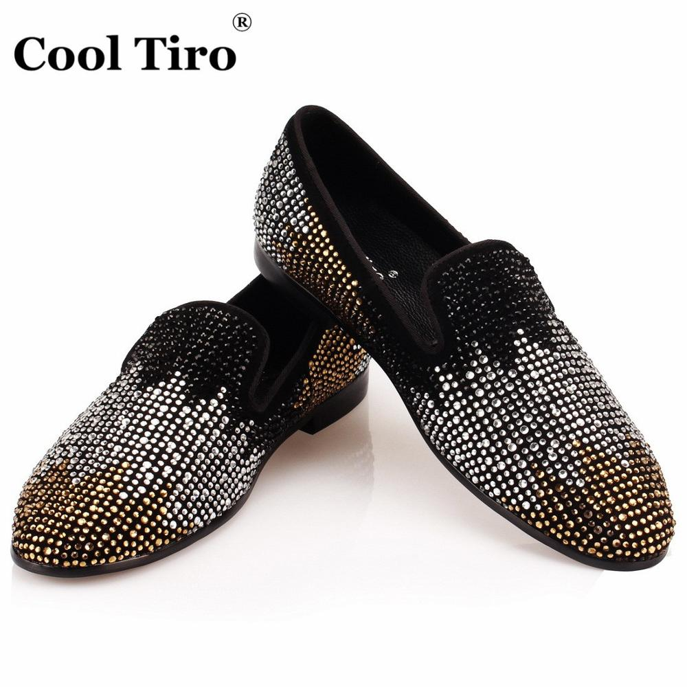 COOL TIRO Black Suede Men s Loafers Strass Moccasins Slippers Flats Party Wedding Men Dress Shoes