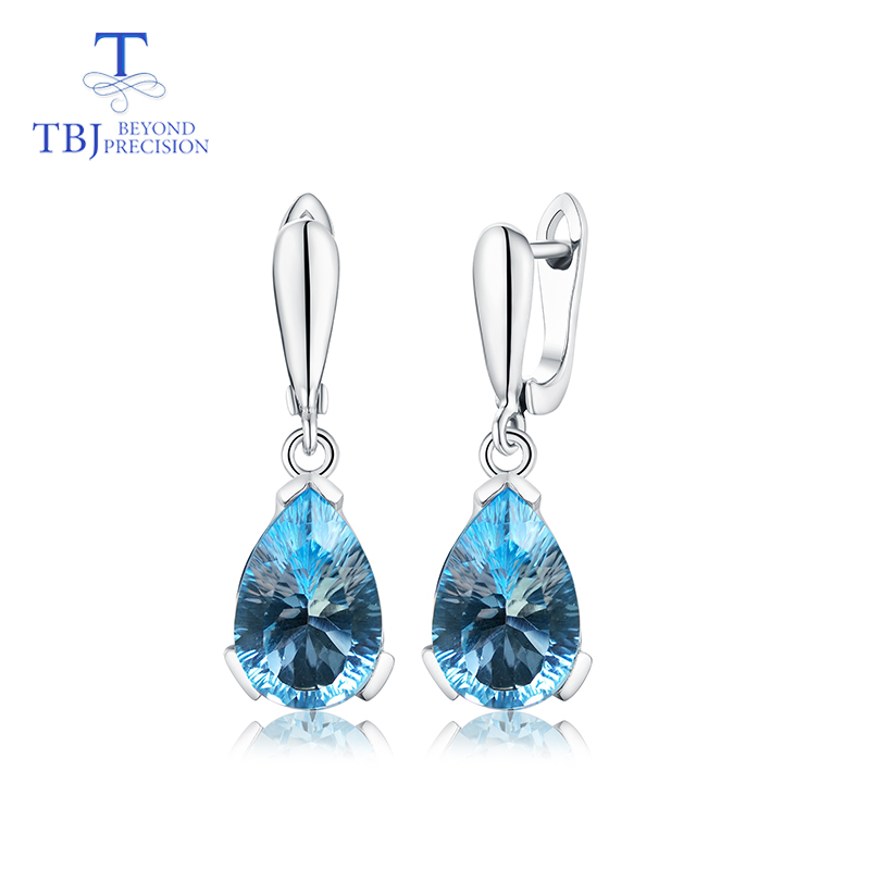 TBJ Water Drop 13ct Genuine Sky blue topaz concave cut good clasp Earrings Pure 925 Sterling