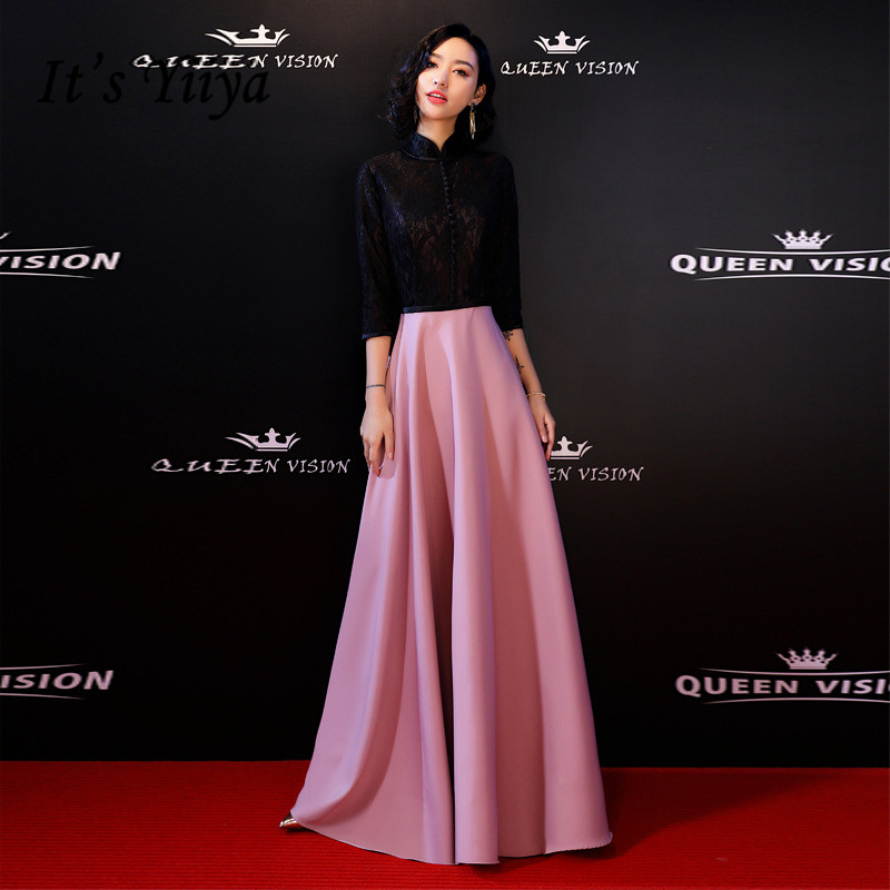 It's YiiYa Evening Dress Black Pink Patchwork Illusion Floor-length Party Gowns Fashon A-line Formal Dresses  E046