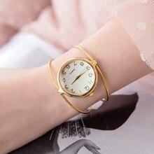 цена на Unique Fashion Brand Quartz Wristwatch Women Bracelet Ladies Rose Gold Watch female Luxury Double Ring steel band casual clock